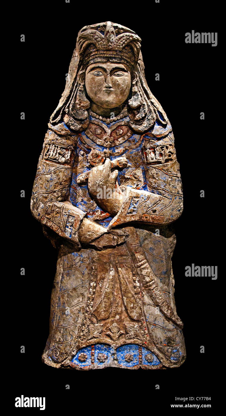 Royal Figure12th century Stucco modeled carved polychrome painted gilded       Iran - Stock Image