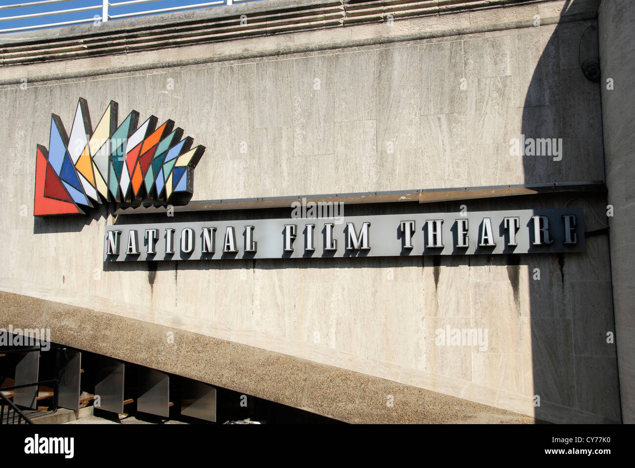 BFI British Film Institute for National Film Theatre sign on South Bank London UK - Stock Image