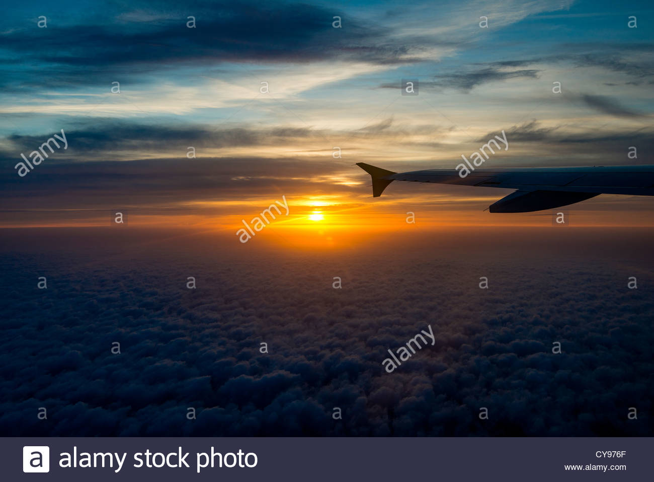 Sunset as seen from onboard of an Airbus 320 - Stock Image