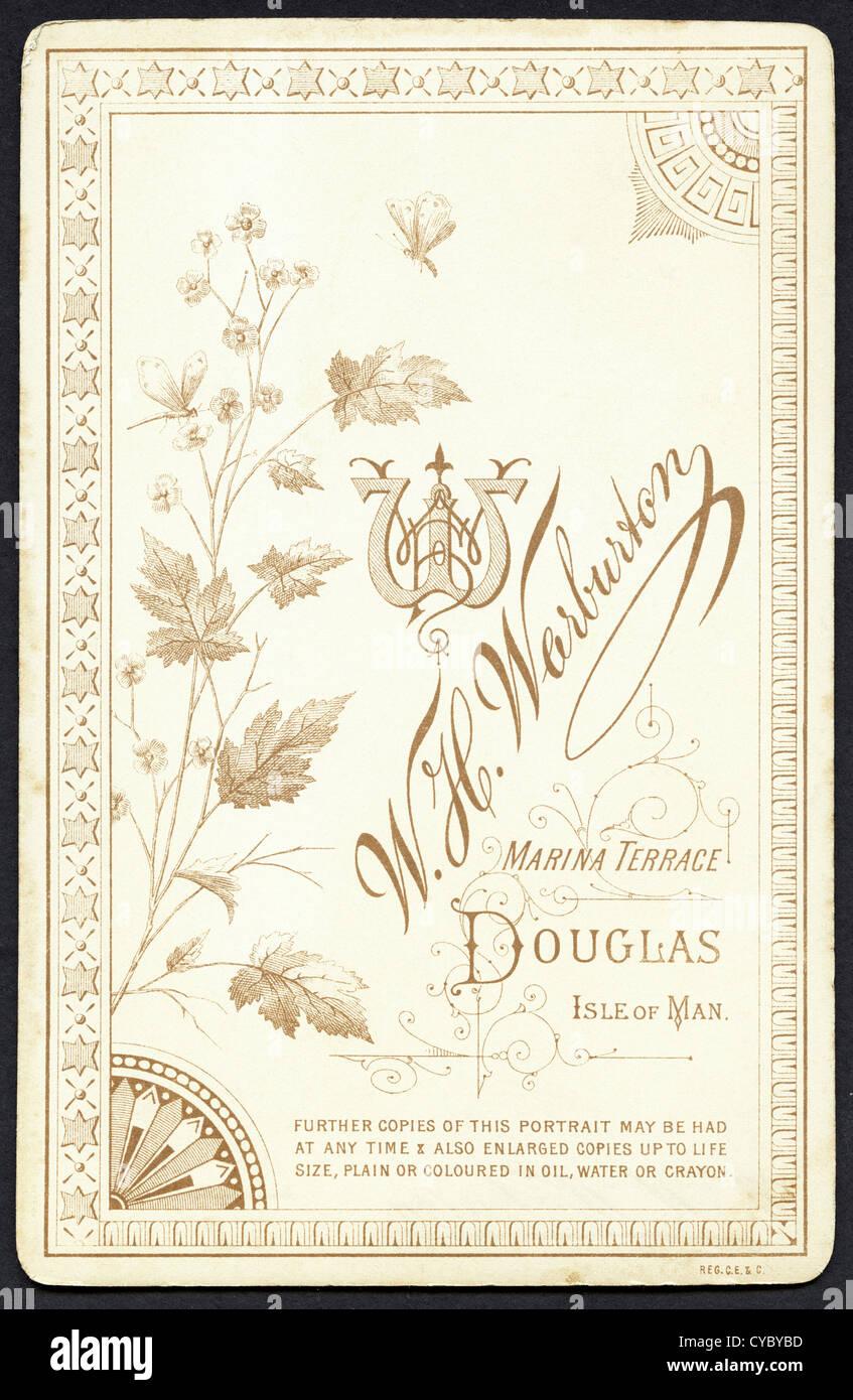 Elaborate Design On Reverse Of Carte De Visite Circa 1890 By Photographer WH Warburton Douglas Isle Man