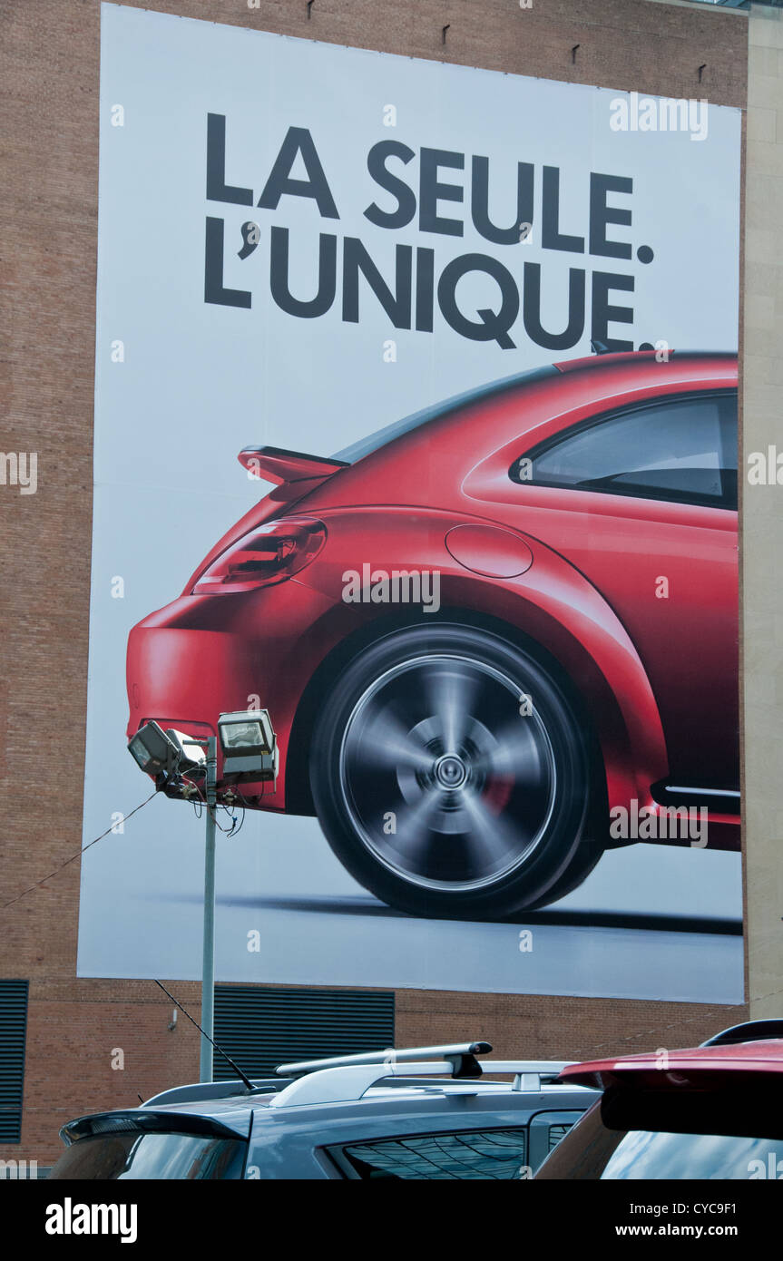 Advertising french language billboard downtown Montreal - Stock Image