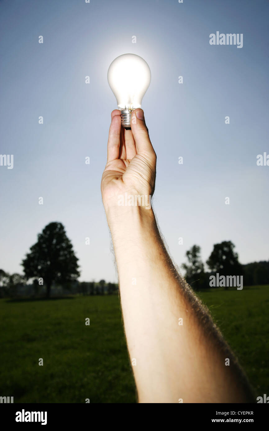 Global Concept of Green Energy Solutions With Light bulb and Planet on Bright Landscape - Stock Image