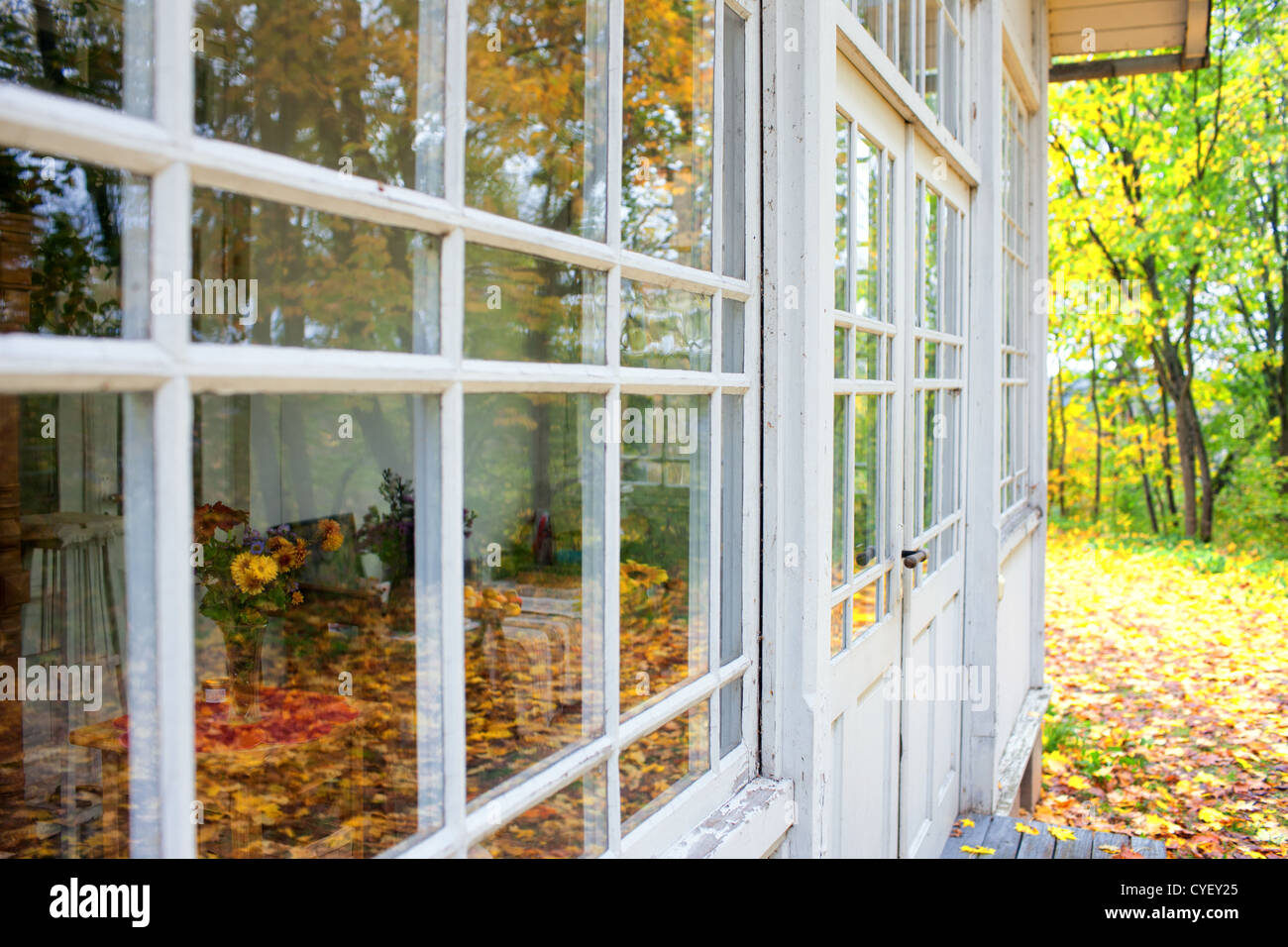 Glass Veranda Old Wooden House In The Late Autumn