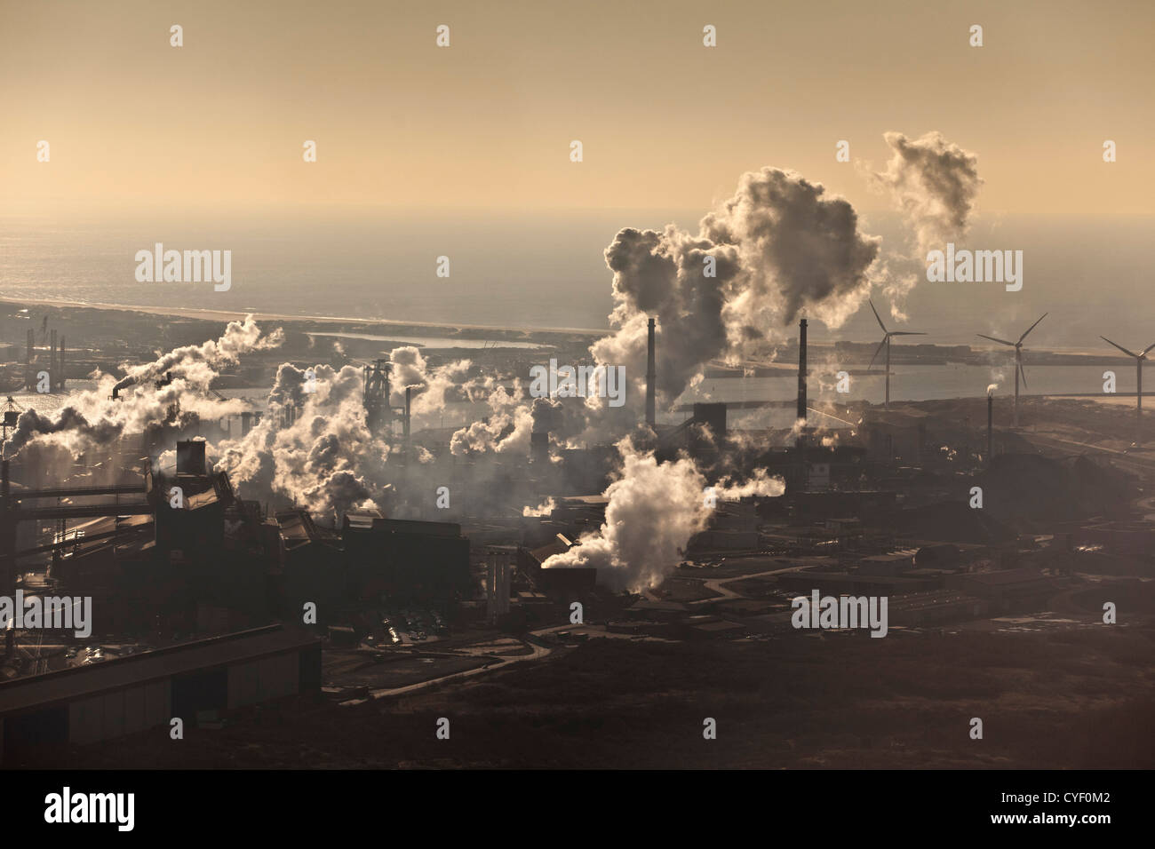 The Netherlands, Ijmuiden, TATA Steel factory. Aerial. - Stock Image