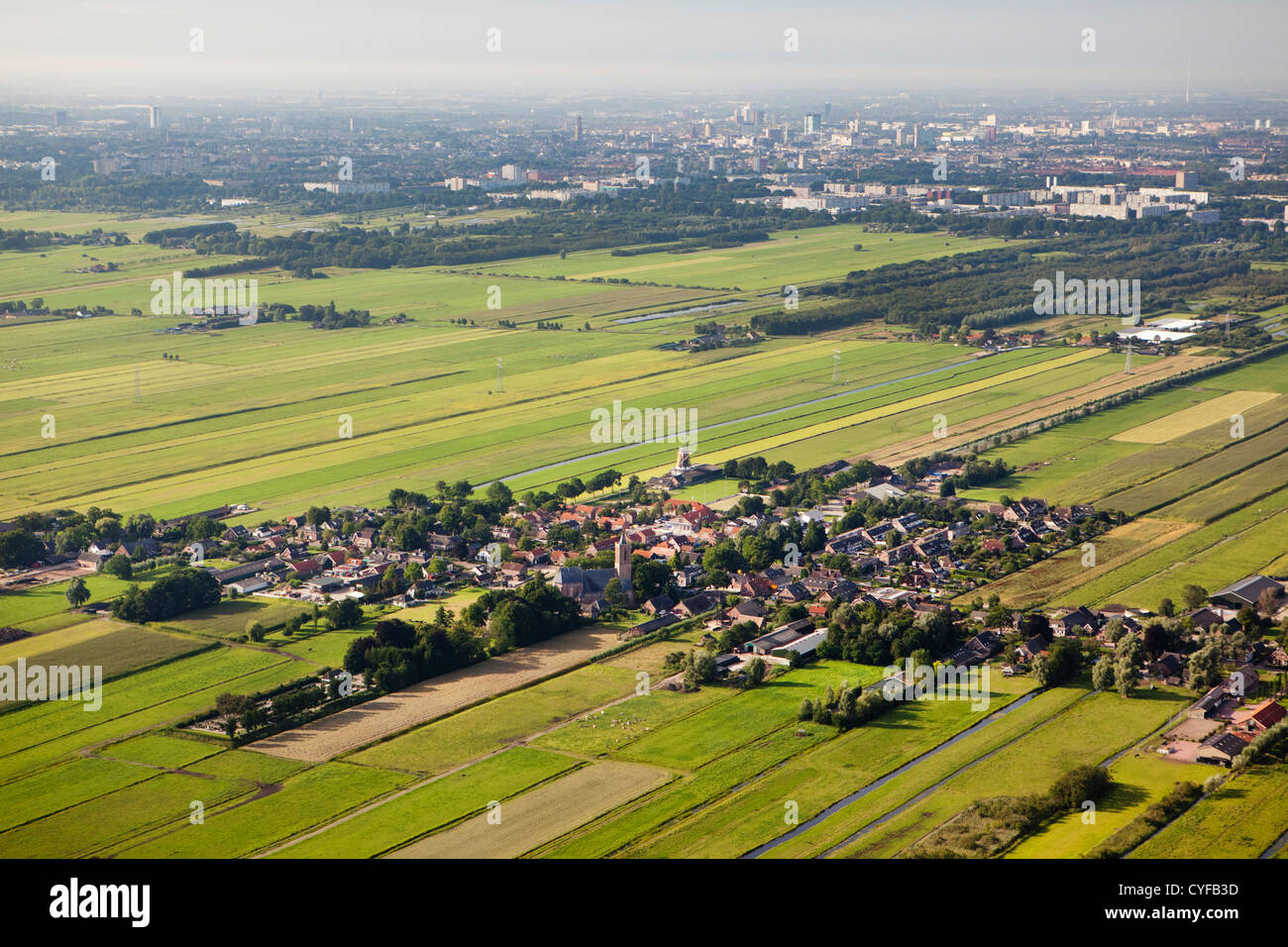 The Netherlands, Village of Westbroek, background the city of Utrecht. Aerial. - Stock Image