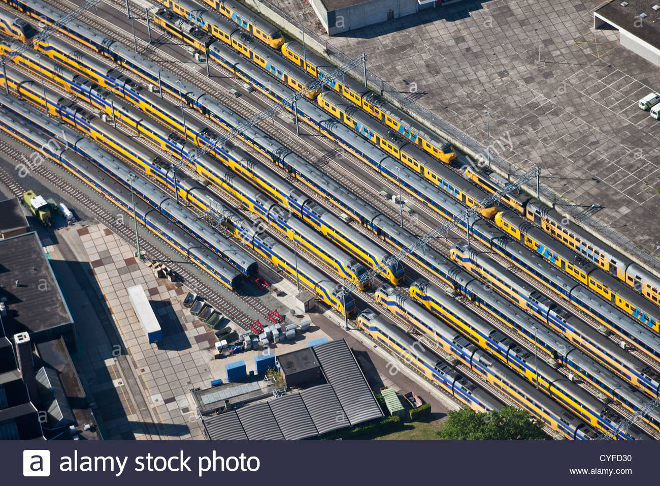The Netherlands, Maastricht. Trains at station. Aerial. - Stock Image