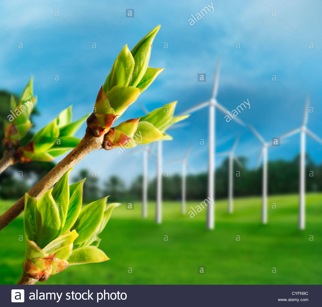Ecology concept. Renewable energy from wind turbines. - Stock Image