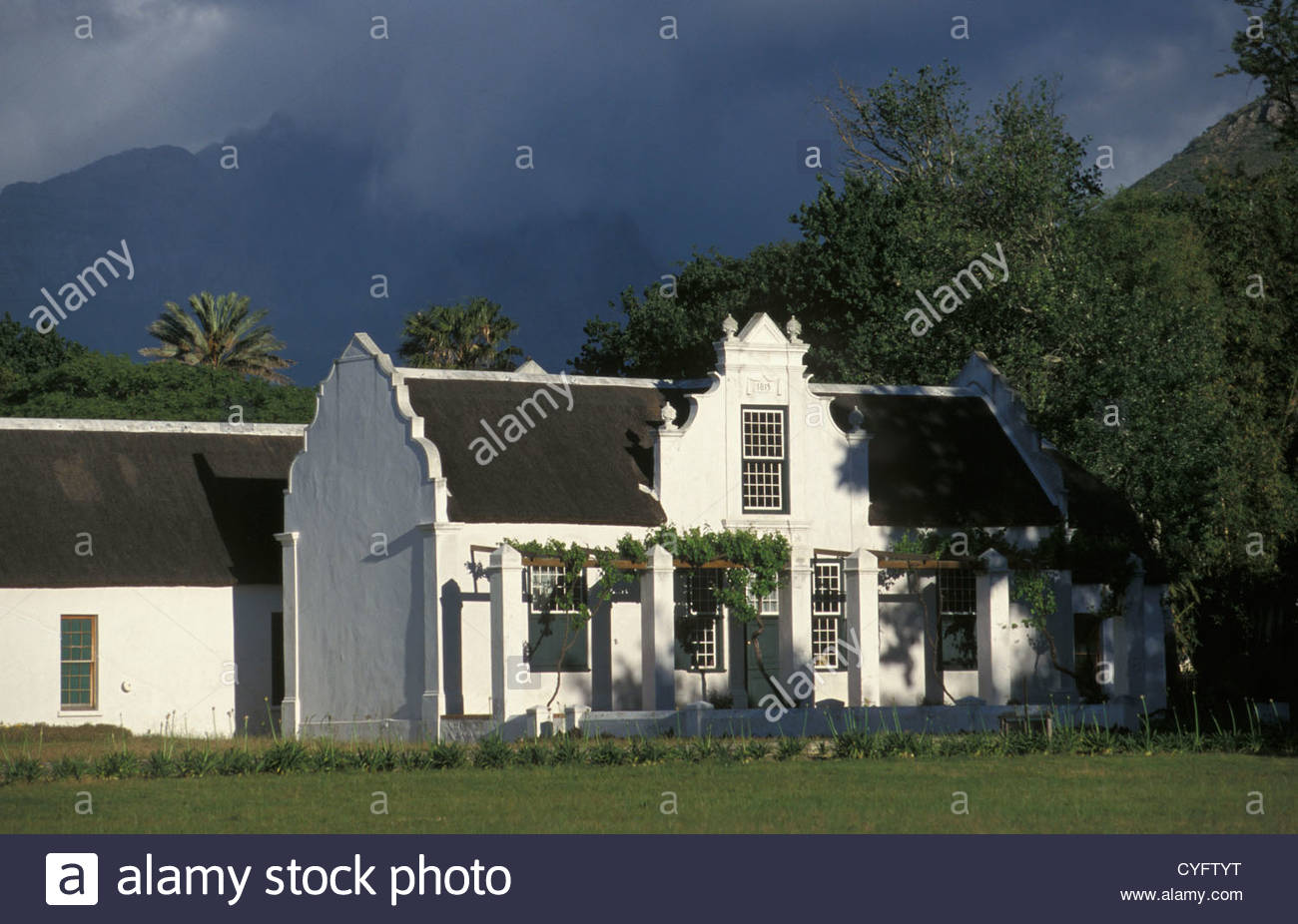 South Africa, Western Cape Province, Stellenbosch, winelands near Cape Town, House. Architecture, Cape Dutch Style - Stock Image