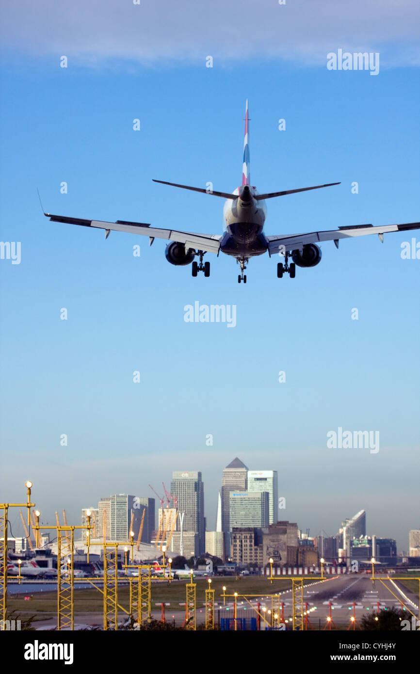 British Airways airliner landing at London City Airport, England, UK - Stock Image