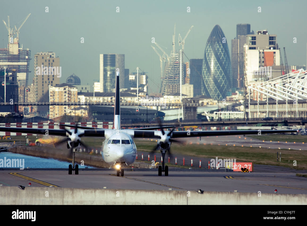 Regional airliner at London City Airport, England, UK Stock Photo