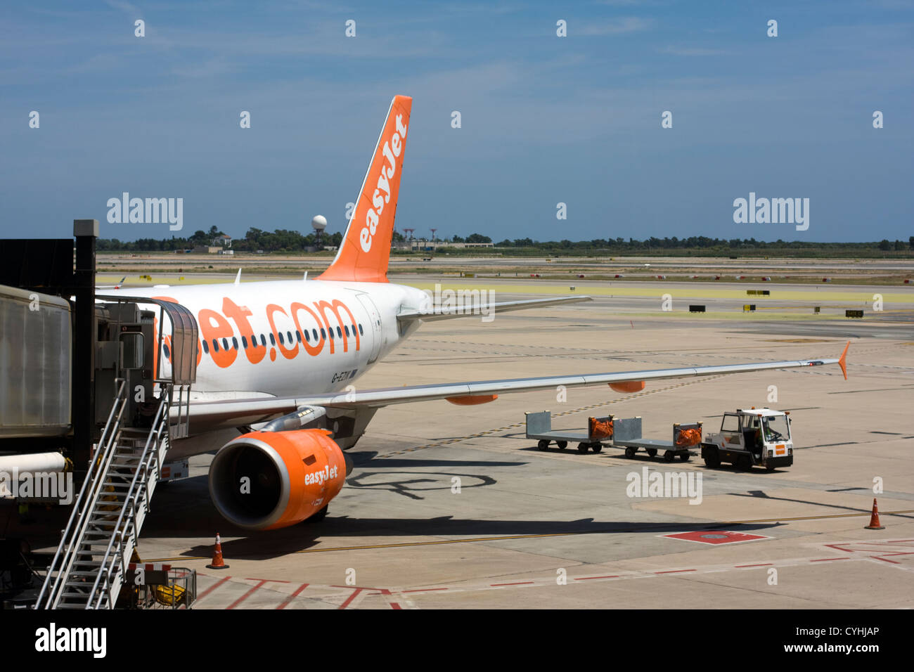 Passenger Airplane of Easy Jet at Barcelona El Prat Airport. Stock Photo