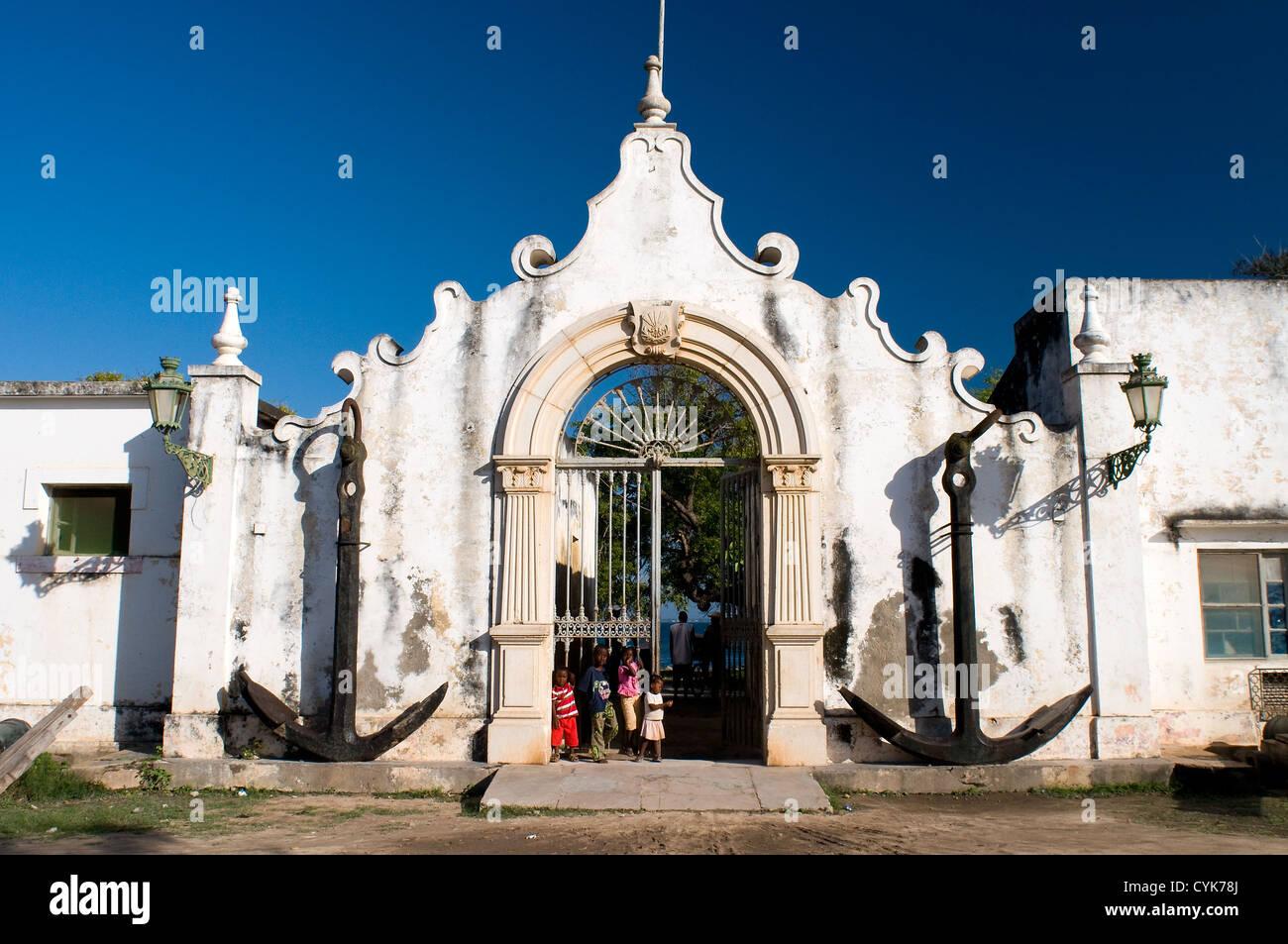 maritime administration building ilha de mozambique, mozambique - Stock Image