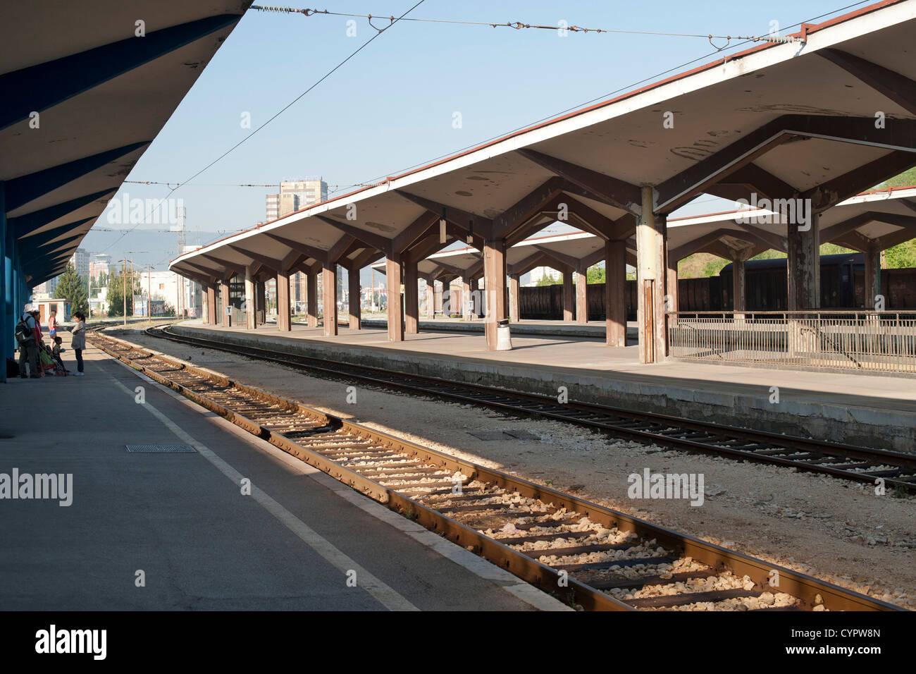 Sarajevo train station platforms in Bosnia and Herzegovina. - Stock Image