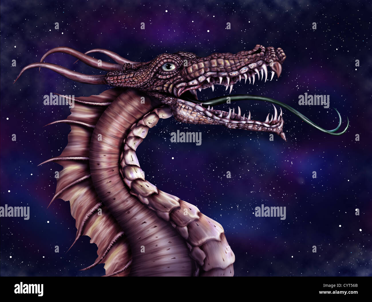 Illustration of a fierce dragon with a star filled night sky - Stock Image