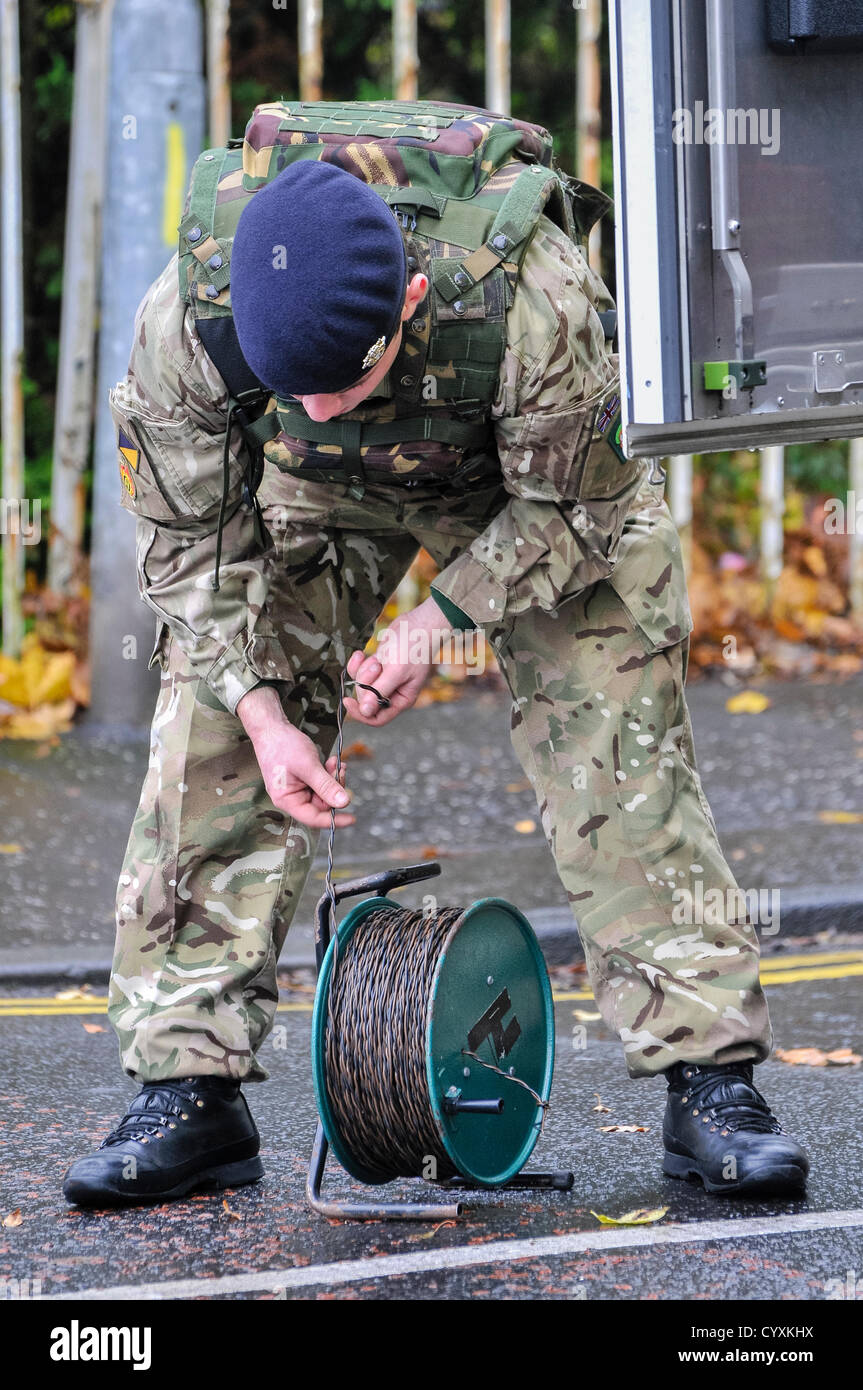12th November 2012, Belfast, Northern Ireland.  Soldier from 321 EOD squadron, Royal Logistics Corp,   (a.k.a. the - Stock Image