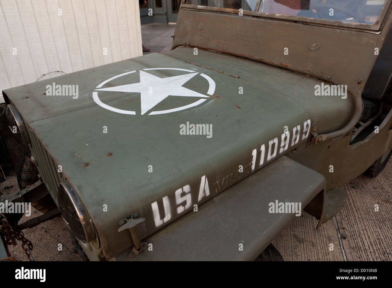 WWII Willys Jeep hood - Stock Image