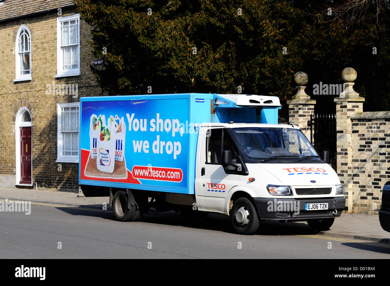 Tesco home delivery van in St Ives, Cambs. Stock Photo