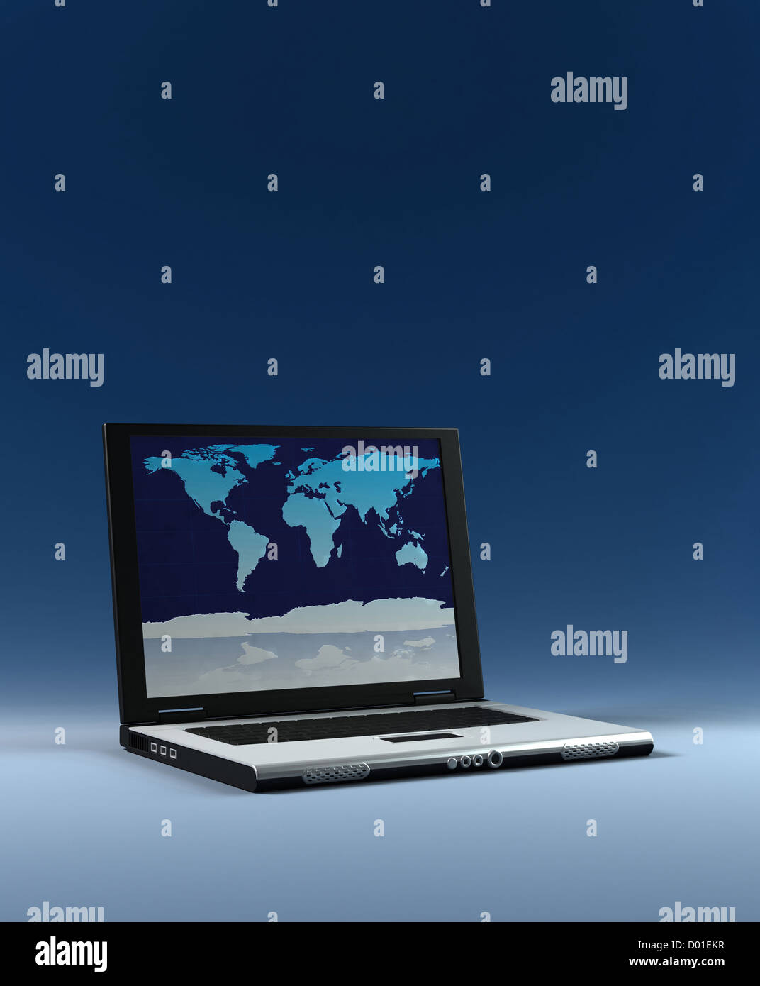 laptop with world map on screen high resolution 3d render stock