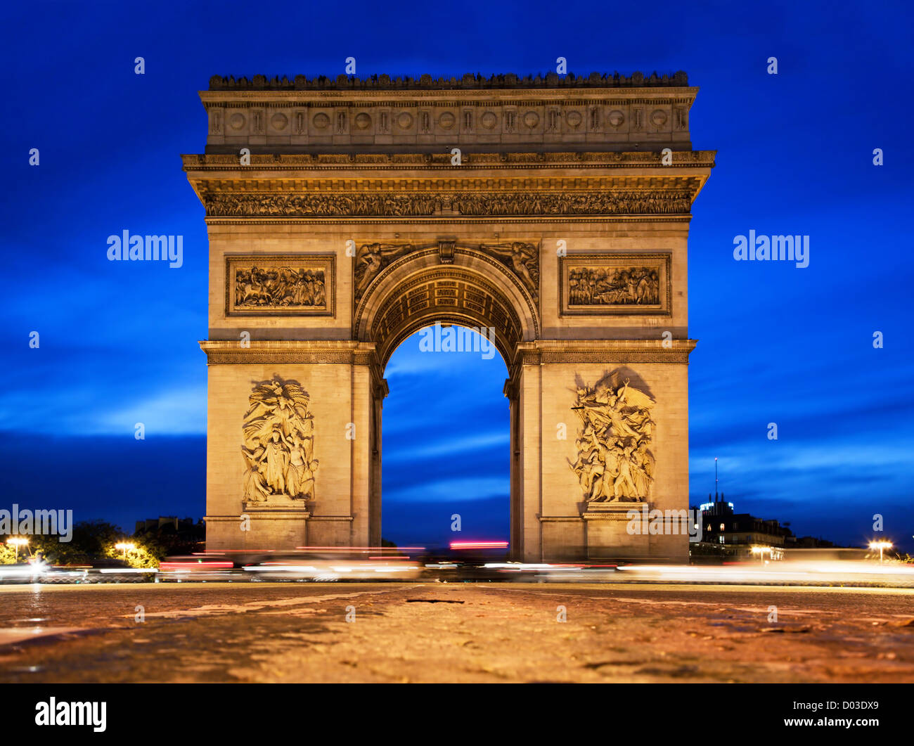 Arc de Triomphe, Paris, France at night. View from Avenue des Champs-Elysees - Stock Image