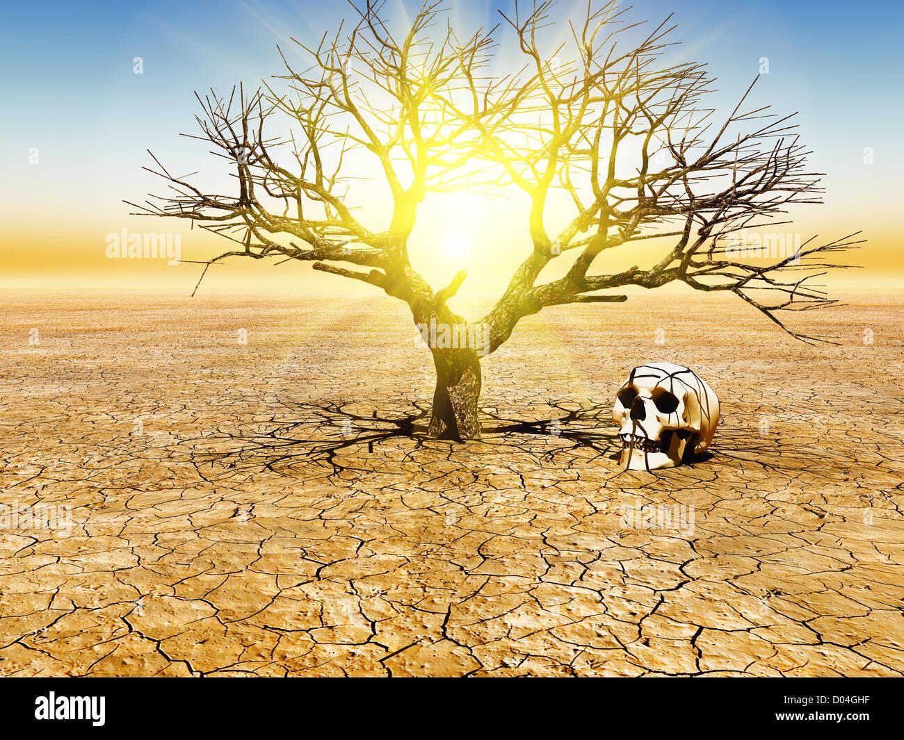 illustration of global warming - Stock Image