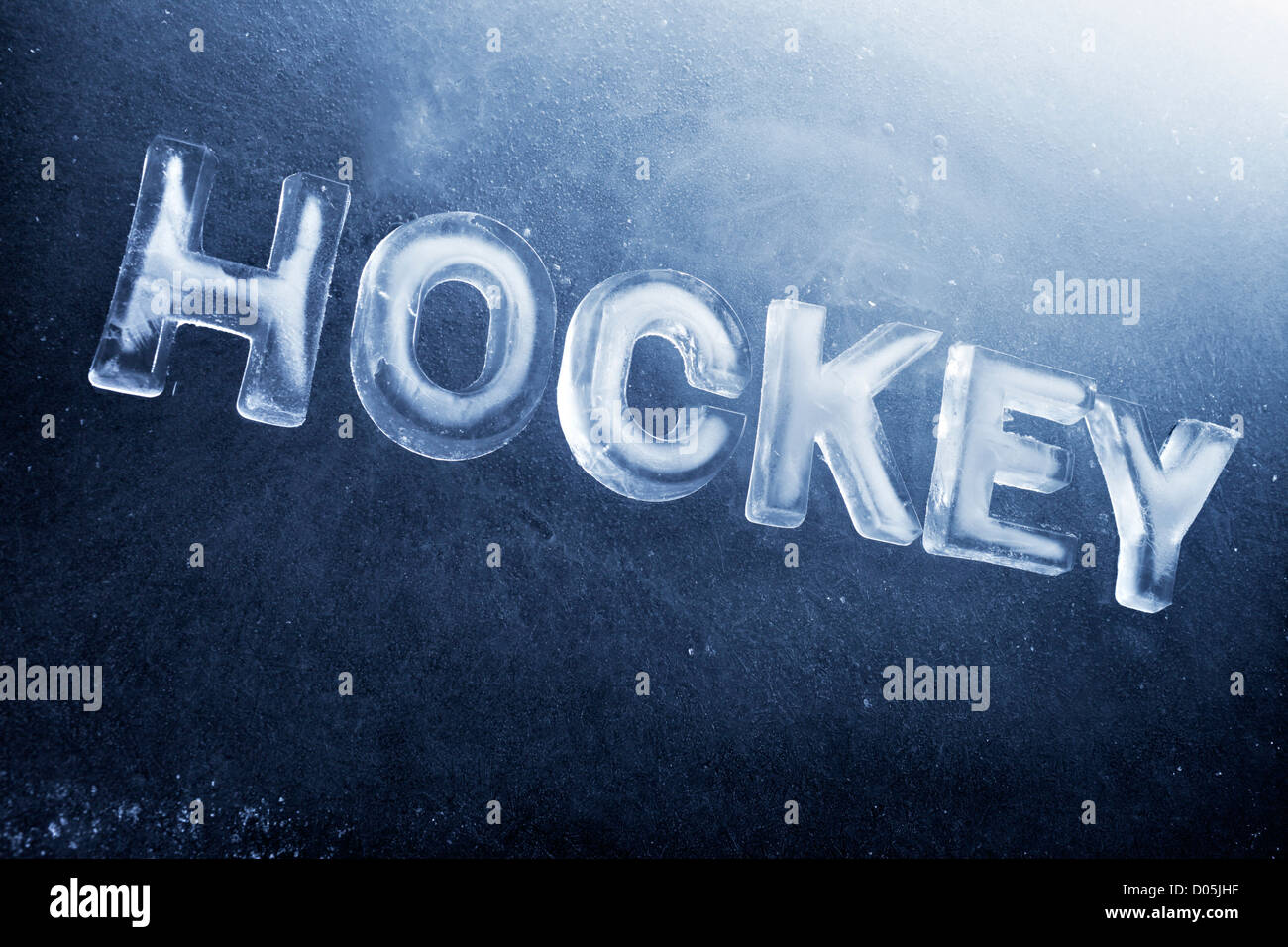 Word Hockey written with real ice letters. - Stock Image