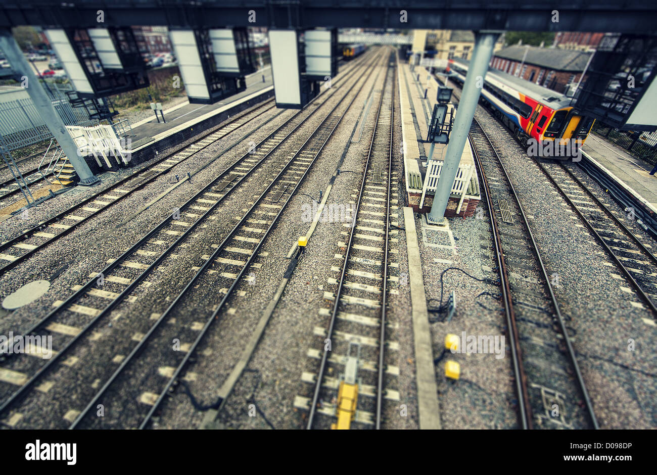 lincoln railway station platforms - Stock Image