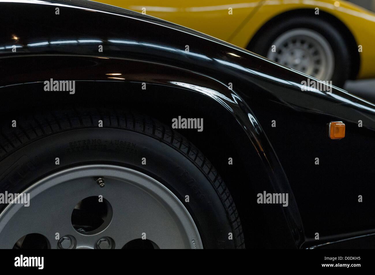 Two Lamborghini Countach Sportscars Black And Yellow Stock Photo