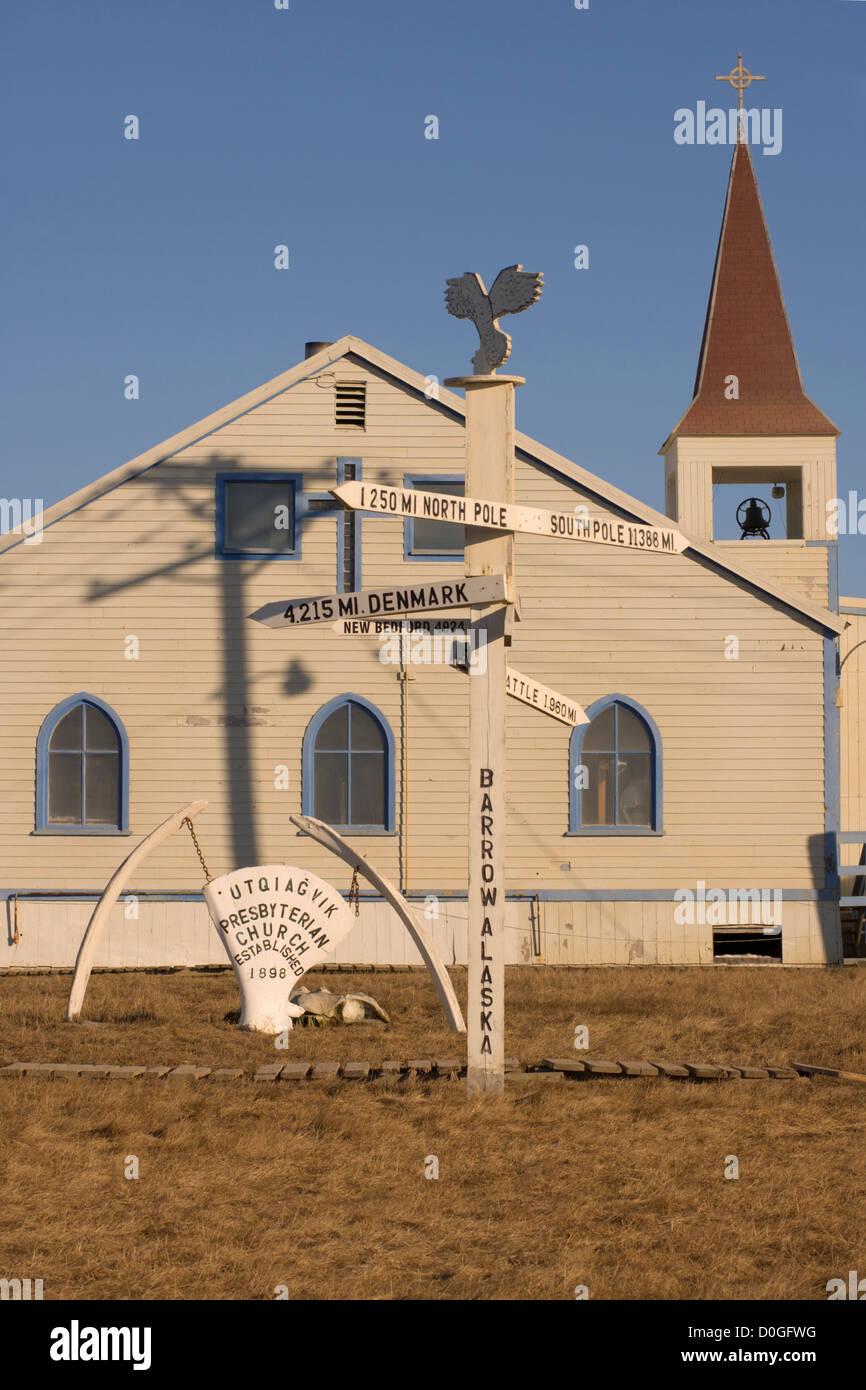 Mile Marker and Church in Barrow, Alaska Stock Photo