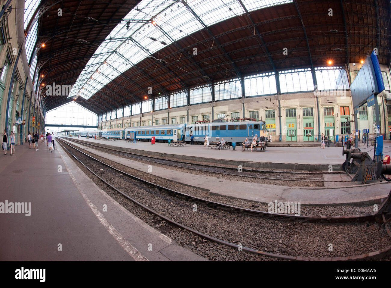 Nyugati train station in Budapest, the capital of Hungary. - Stock Image
