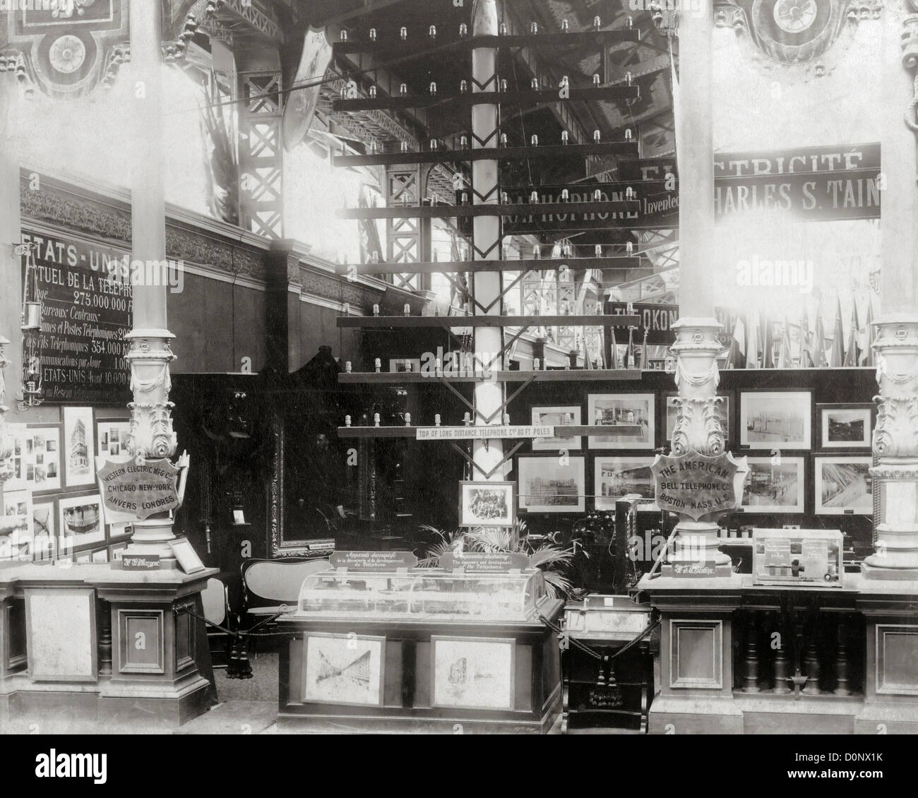 Bell Telephone Exhibit at Paris Exposition of 1889 - Stock Image