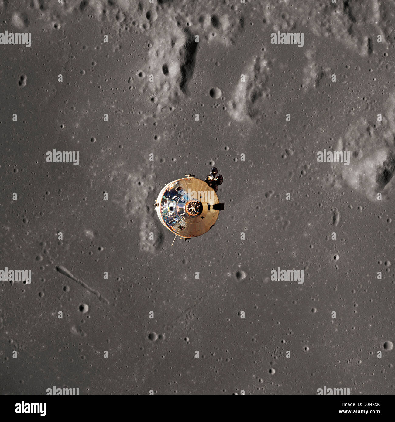 Apollo 11 - The Command Module Framed by the Moon Stock Photo