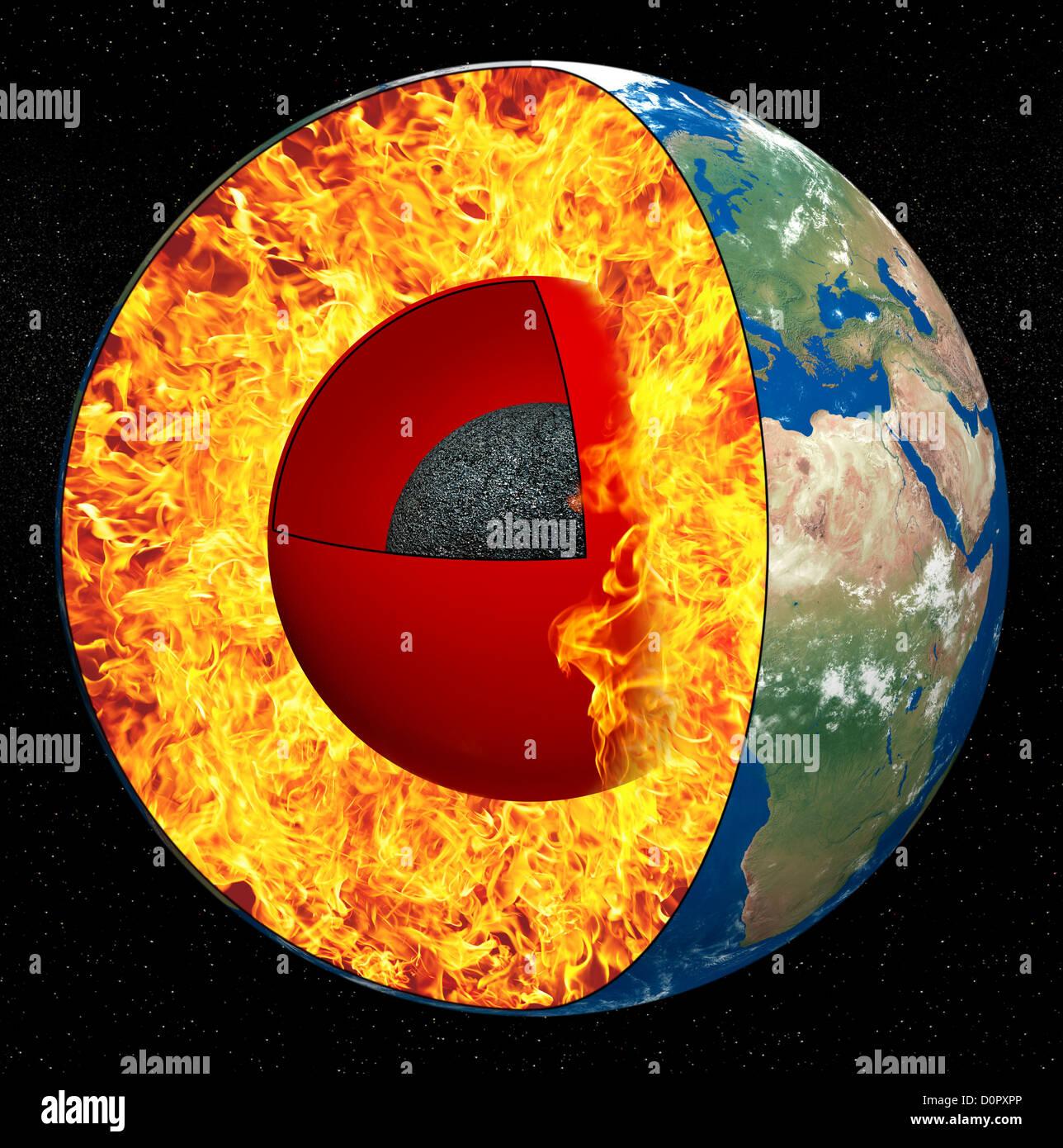 Earth core - Stock Image