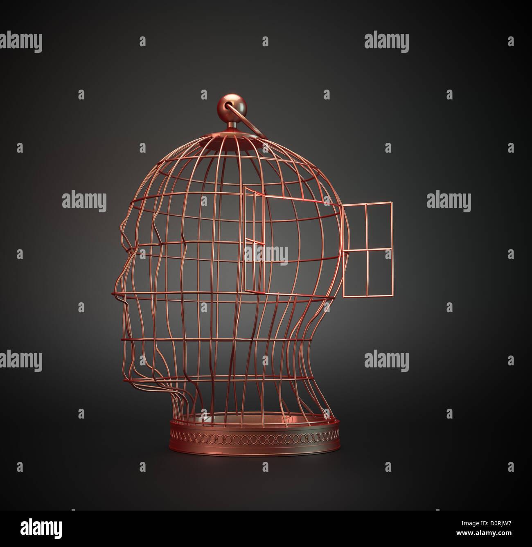 Human head bird cage - Stock Image