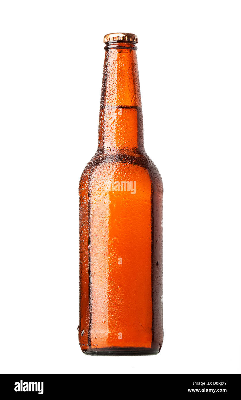 Bottle of beer with drops on white background - Stock Image