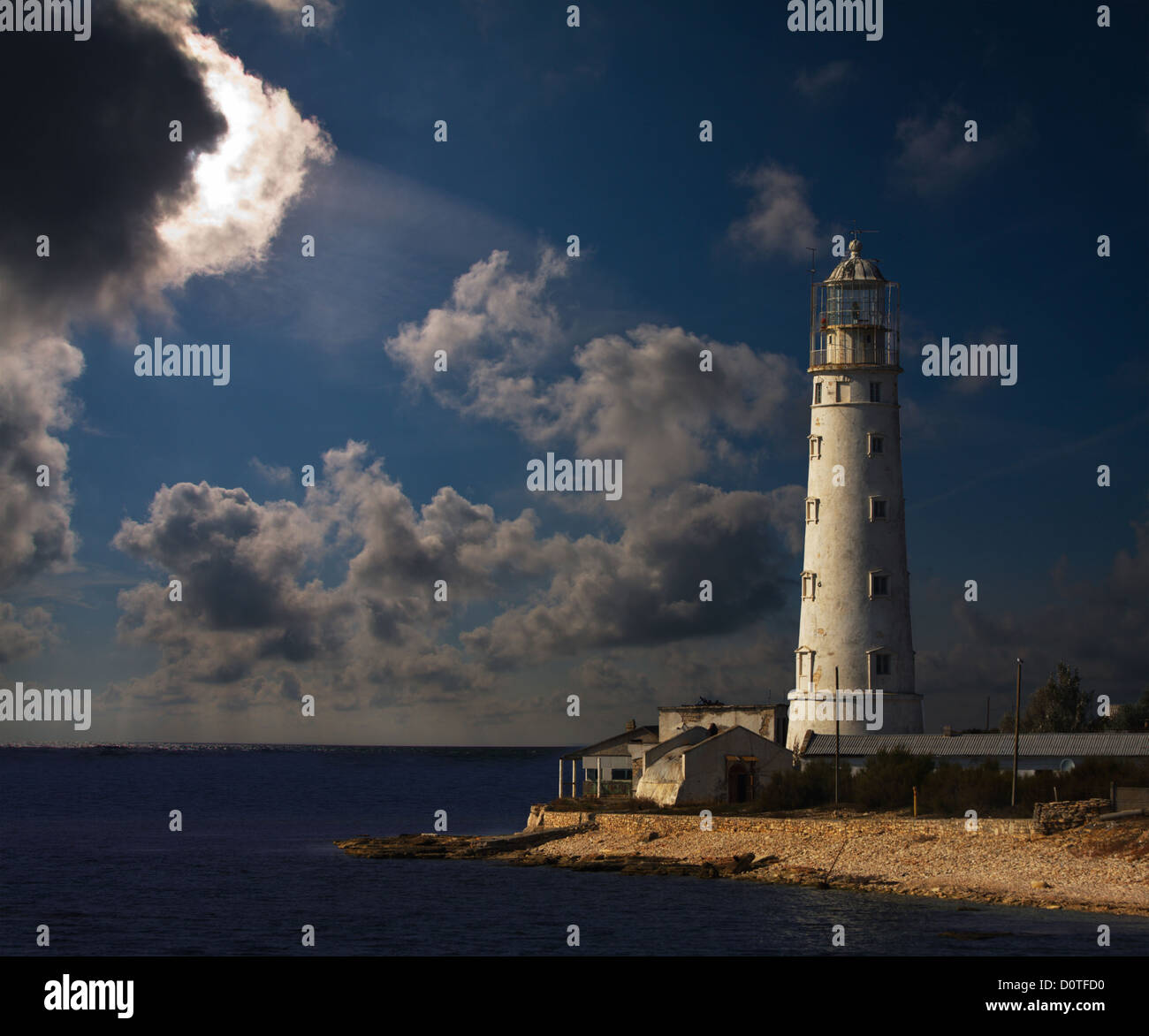 lighthouse at night - Stock Image
