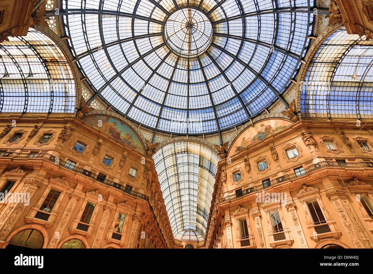 Italy Europe travel Milano Milan City Vittorio Emanuele Galleria architecture center columns downtown gallery gate - Stock Image