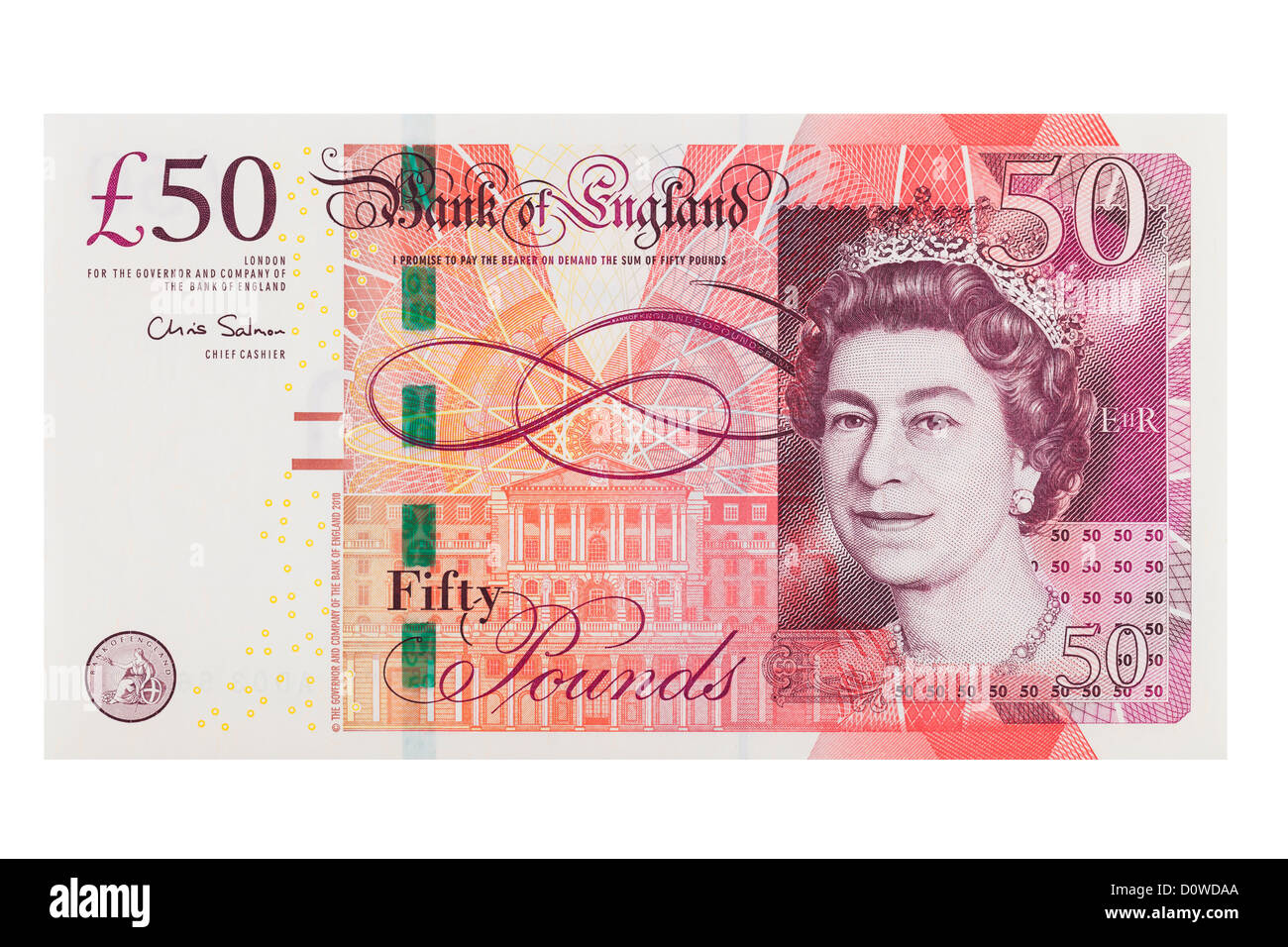 English fifty pound note on a white backgroundStock Photo