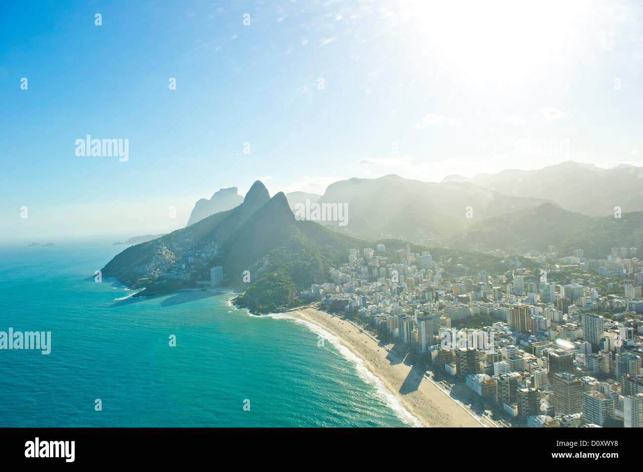 Aerial view of Ipanema Beach and Morro Dois Irmaos, Rio de Janeiro, Brazil - Stock Image