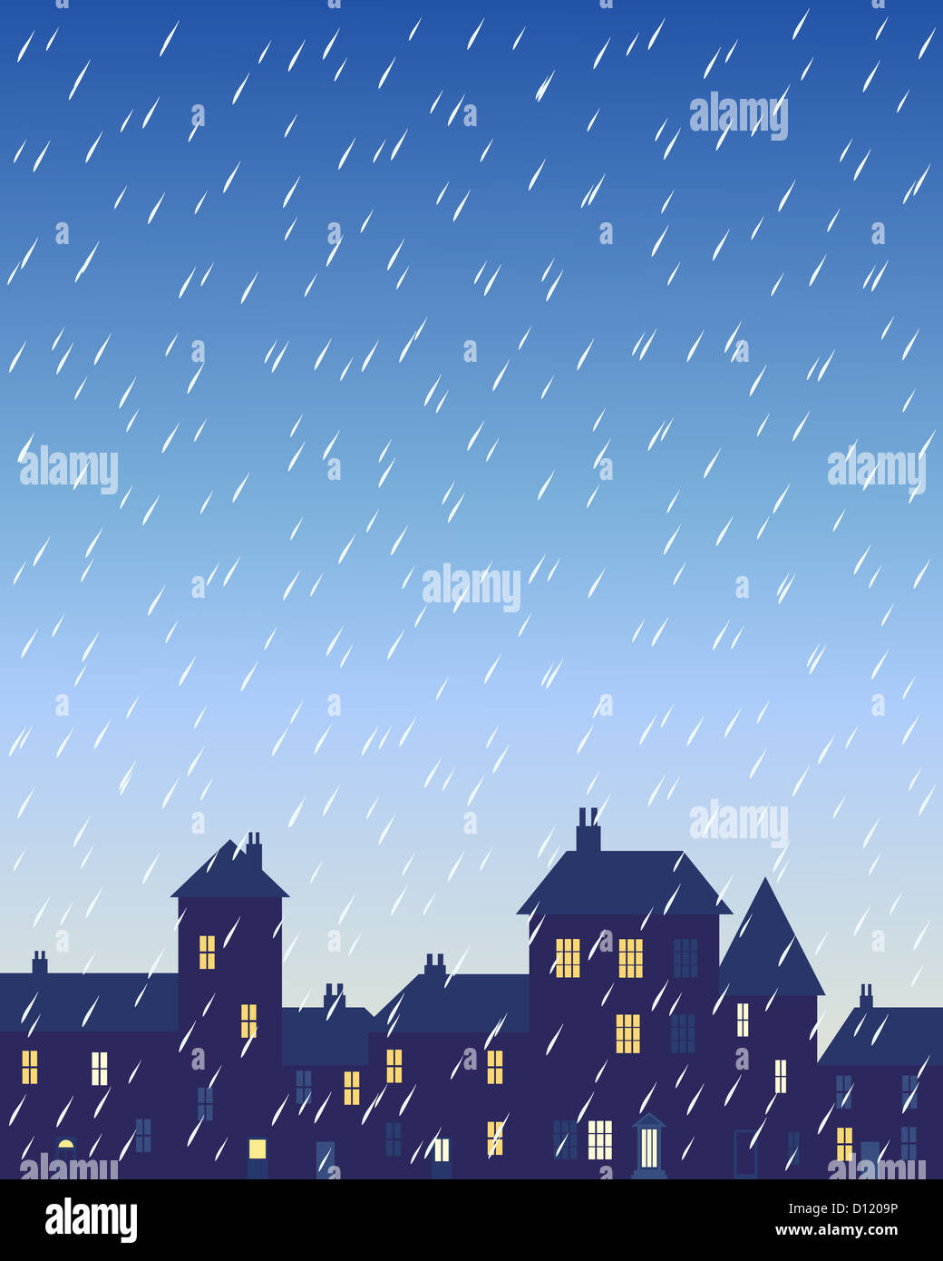 an illustration of a rainy day in a city with various shaped buildings and houses with lighted windows under a stormy - Stock Image