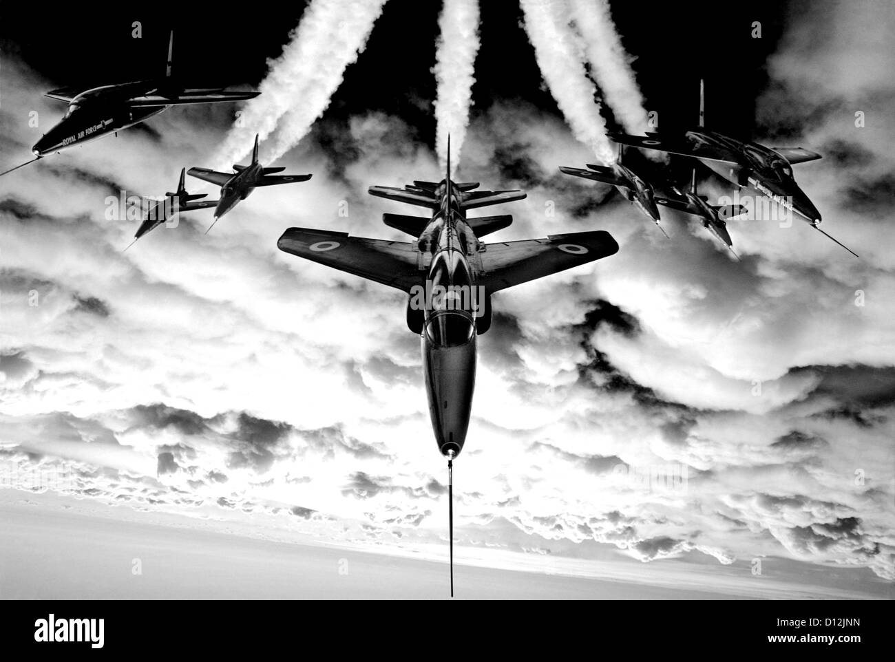 Black and white image of Red Arrows Gnat aircraft used by the aerobatic display team from 1965 to 1978 - Stock Image