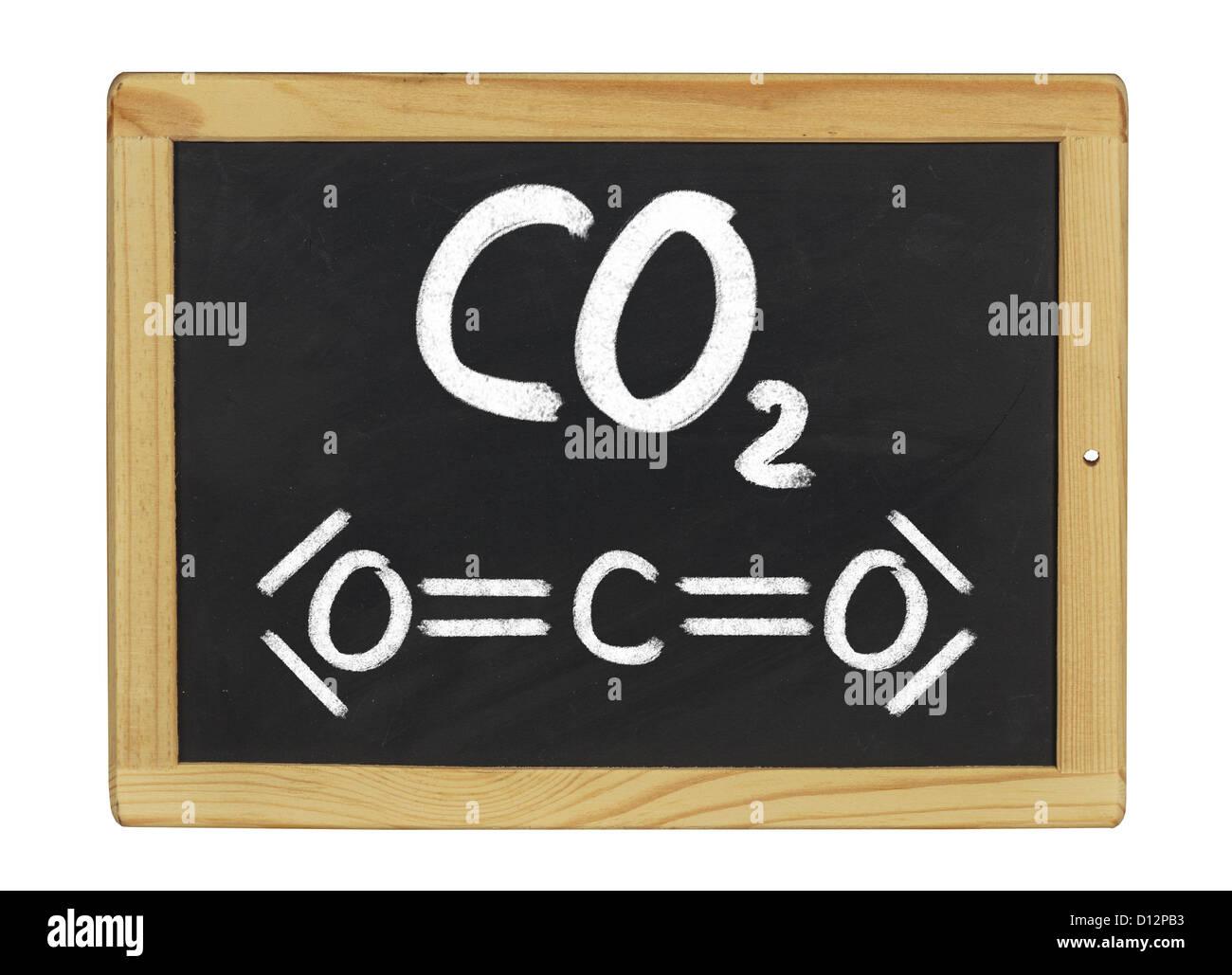 chemical formula of carbon dioxide on a blackboard - Stock Image