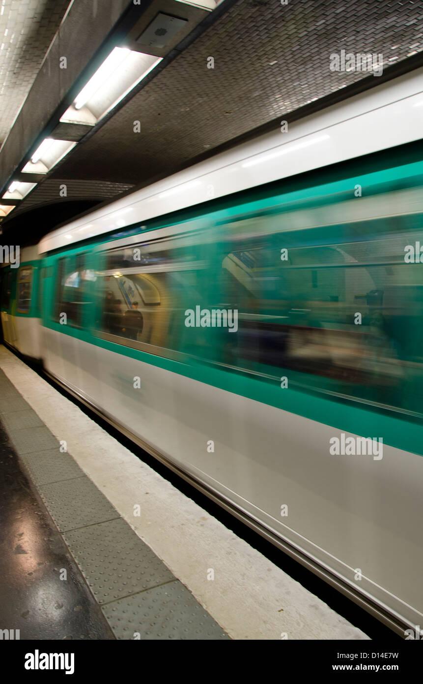 Passing train in Metro of Paris, FranceStock Photo