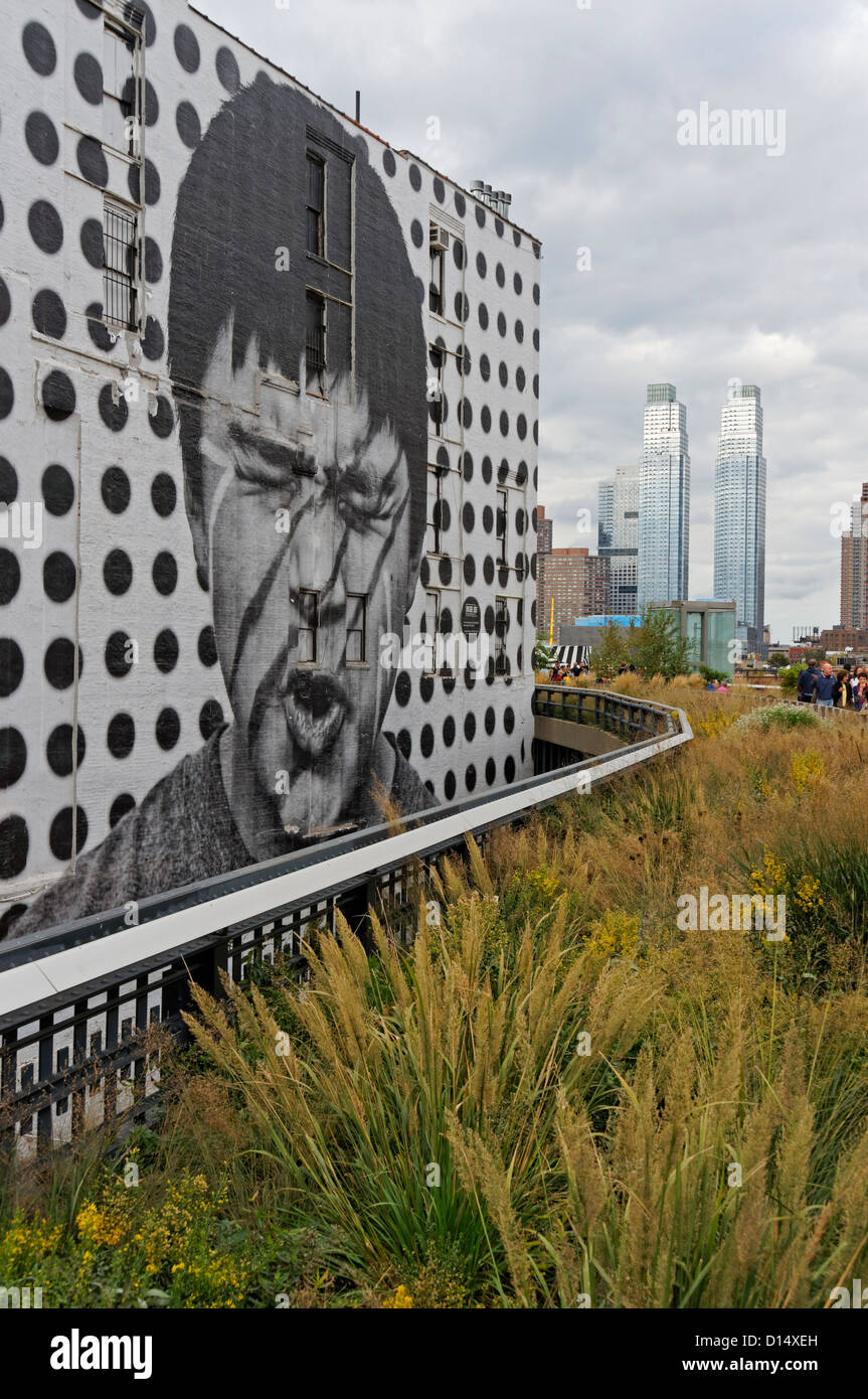 Wall Painting by Artist JR at High Line, Meatpacking District, NYC, USA - Stock Image
