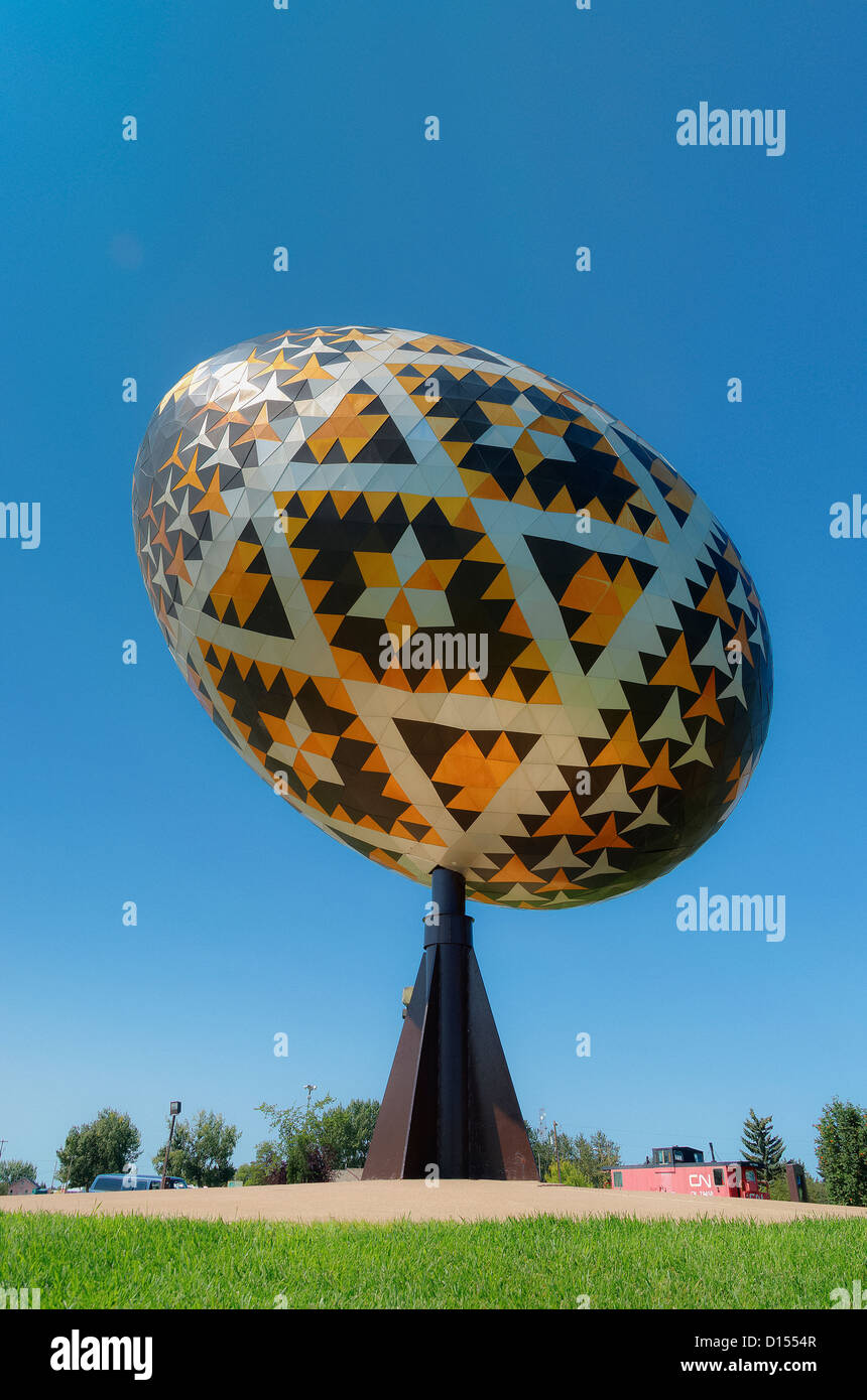 Vegreville egg is a giant sculpture of a pysanka. Vegreville, Alberta, Canada - Stock Image