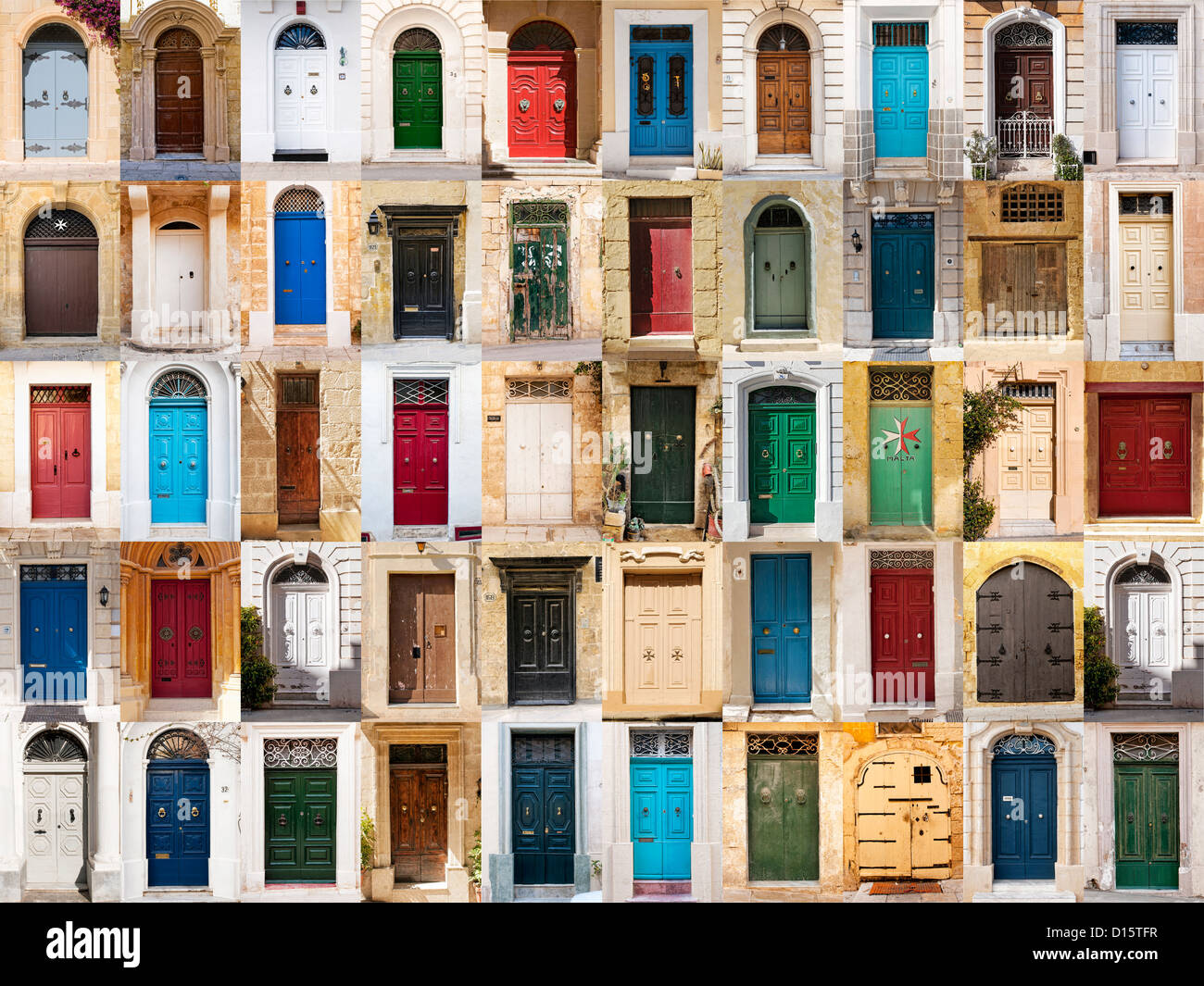 A photo collage of 50 colorful front doors to houses from Malta. - Stock Image