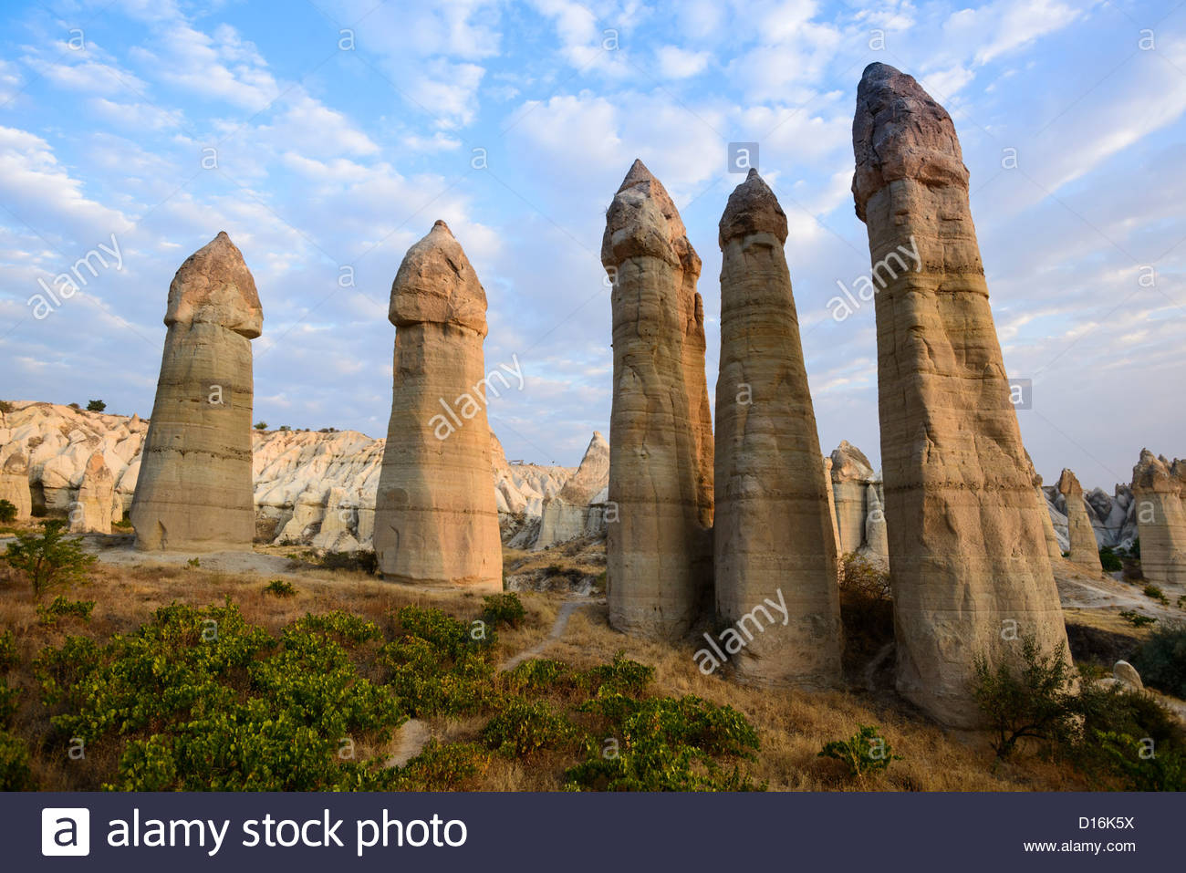 Fairy chimneys in Love Valley Cappadocia Stock Photo