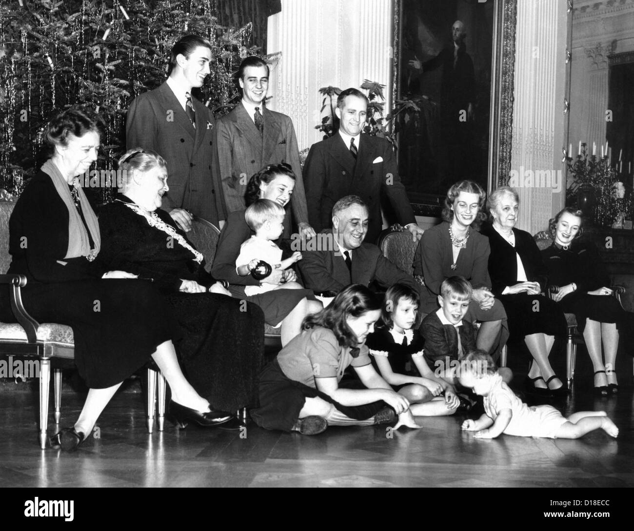 Franklin Roosevelt's Christmas family photo at the White House, 1939. Seated L-R: First Lady Eleanor Roosevelt; Stock Photo