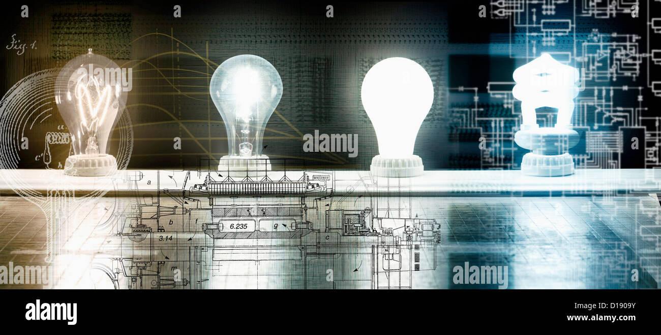 Evolution of the light bulb - from Thomas Edison to energy saving bulb - Stock Image