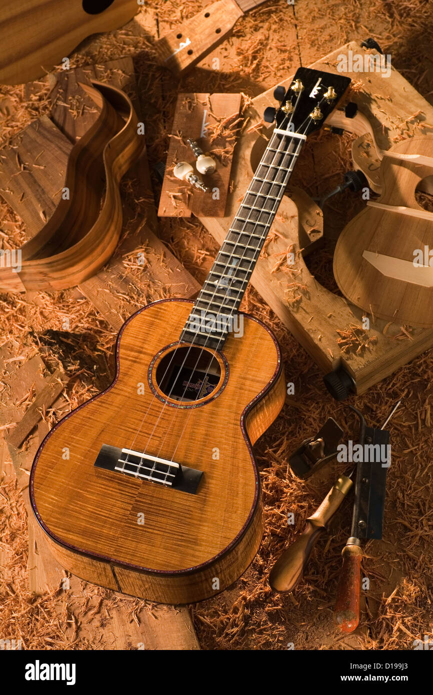 Hawaii, Finished Kamaka Ukulele. Stock Photo