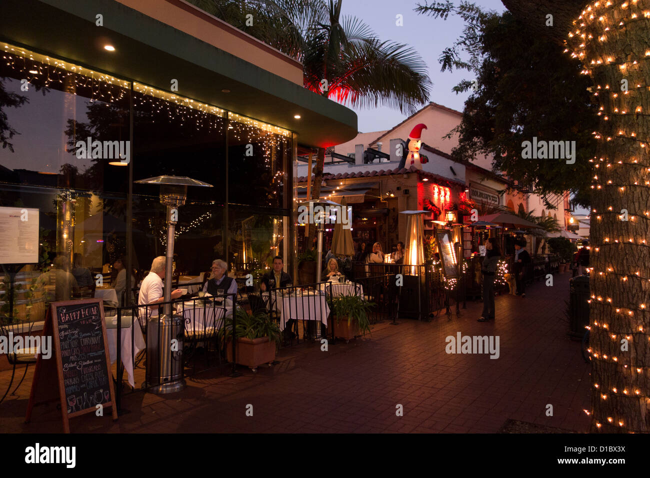 Open Air Bars And Restaurants Along State Street In Downtown Santa
